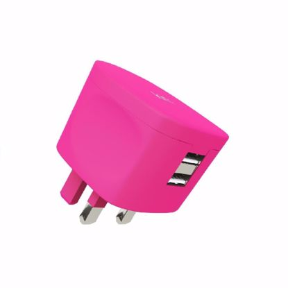 Picture of Kit Kit Fresh UK 3.4A Dual Mains Charger in Pink